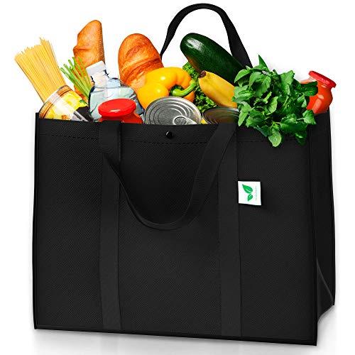 Wiederverwendbare Einkaufstüten, Schwarz, 6 Stück, für bis zu 27 kg, groß und super stark, 6 Stück