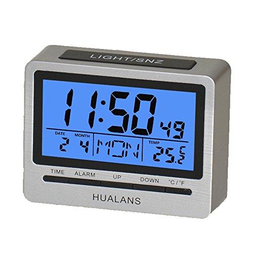 Sveglia Digitale da Scrivania con Funzione Snooze,Hualans® Sveglia Retroilluminata da Comodino con Settimana,Temperatura,orario, Calendario e la modalità 12/24 Ore(escluso la batterie)