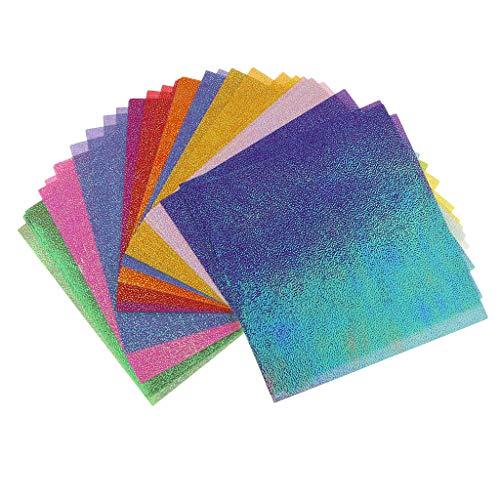 Hellery 50 pcs Glitzer Papier Glänzend Bastelpapier Farbiges Tonpapier Glitzer Karte Patchwork Bling-Bling Karton für Scrapbooking Deko - 15x15x0,5 cm