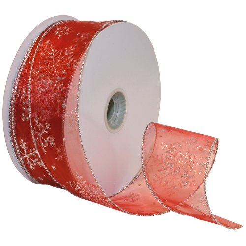 Morex Ribbon Snowflake Wired Sheer Glitter Ribbon, 2-1/2-Inch by 50-Yard Spool, Red/Silver