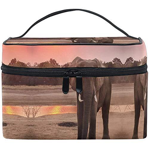 Trousse de Maquillage Elephant Pendant Golden Hour Travel Cosmetic Bags Organizer Train Case Toiletry Make Up Pouch