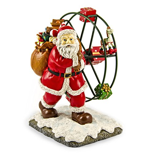 Joyful Animated Santa Clause with Toys and Ferris Wheel Musical Figurine