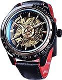 QHG Reloj de Pulsera de Deporte Impermeable del Esqueleto mecánico de los Hombres de Cristal Azul