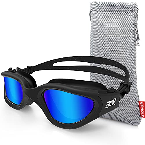 Swim Goggles, ZIONOR G1 Polarized Swimming Goggles UV Protection Leakproof Anti-fog Adjustable Strap for Adult Men Women (Polarized Mirror Blue Lens)