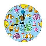 Mesllings Reloj de pared sin tictac, 24,8 cm, diseño de animales marinos divertidos, criaturas subacuáticas, personajes de dibujos animados, concha, acuario, reloj redondo digital