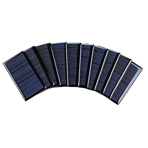 SUNYIMA 10Pcs 5V 60mA Epoxy Solar Panel Polycrystalline Solar Cells for Solar Battery Charger DIY Solar Syatem Kits 68mmx37mm / 2.67'x1.45' 5V Solar Cells