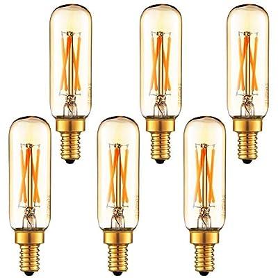 LiteHistory Dimmable T6 led Bulb 40W Candelabra led 2200K Amber 250lm 4W e12 T25 led Bulb 6Pack