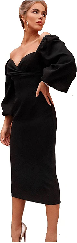 Women's Sweetheart Neckline Office Dress Solid Color Lantern Sleeve Party Slim Dress
