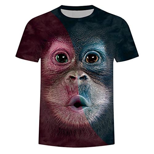 waotier Hombres Primavera Verano ImpresióN 3D O-Cuello De Manga Corta Camiseta Tops Blusa con Estampado De OrangutáN