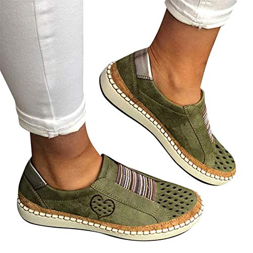 Walking Shoes for Women Slip Ons,2020 Fashion Comfy Sneakers Breathable Casual Canvas Laceless Low Top Loafers Vintage Flat Shoes Green