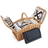 ZORMY 4 Persons Picnic Basket with Insulated Cooler, Large Willow Wicker Picnic Hamper Basket Set with Blanket Picnic Cutlery Service Kit for Family Camping Outdoor Gift, Huntsman English-Style