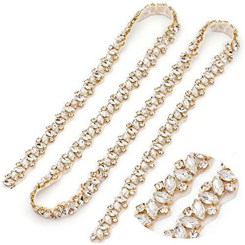 Yanstar Handmade Gold Crystal Rhinestone Wedding Bridal Applique By The Yard For Bridal Dress (Gold)