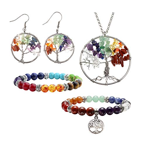 JOVIVI 7 Chakra Tree of Life Tumbled Gemstone Healing Crystals Necklace & Earrings & Chakra Bracelet Sets, Mothers Day Gifts (4pcs: Tree of Life Necklace & Earrings & 7 Chakras Bracelet)