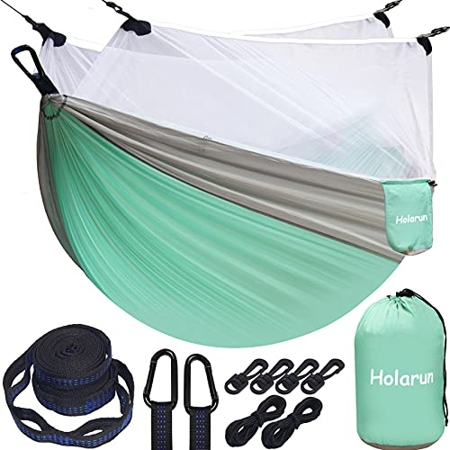 Holarun Double Hammock with Mosquito Net for 2 Adults, Camping Hammocks with Tree Straps & Carabiner,Portable Nylon Hammock with Netting Lightweight Parachute Hammock for Travel Outsides Beach Hiking