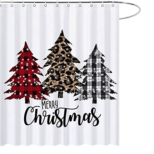 MAEZAP Farmhouse Christmas Trees Shower Curtain Buffalo Check Plaids Bathroom Decor Waterproof Polyester with Hooks 69x70 Inches