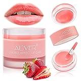 Lip Sleeping Mask, with Lip Scrubs Exfoliator & Moisturizer, Double Effect Lip Mask Overnight for Dry, Lip Masks Treatment Care, Cracked Lips, Peeling Lip Primer, Lip Repair Balm - Strawberry