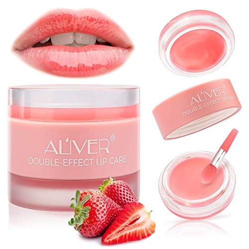 Lip Sleeping Mask, with Lip Scrubs Exfoliator & Moisturizer, Double Effect Lip Mask Overnight for Dry, Lip Masks Treatment Care, Cracked Lips, Peeling Lip Primer, Lip Repair Balm - Strawberry