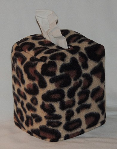 """FREE SHIPPING! 5"""" x 5"""" x 6"""" Tissue Box Cover. Leopard Fleece. Soft & plushy! Fabric is Fully Lined. Hand Made."""