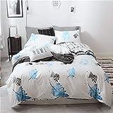 BFMBCH New Baumwolle vierteilige weiße Bettdecke Baumwolle 4 Kits Einzelbett weiß 150cm * 200cm