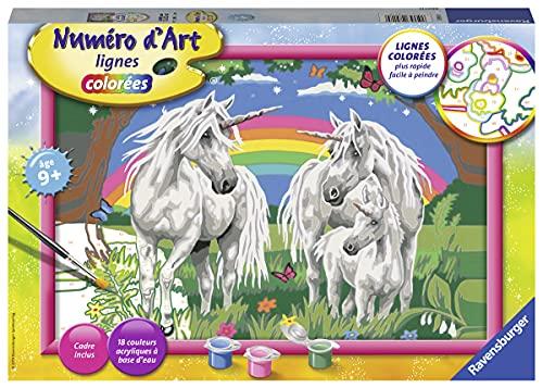 Ravensburger – Numéro d'art grand format – Au pays des licornes – loisir créatif – kit de peinture acrylique – activite détente – enfant dès 9 ans – 28918