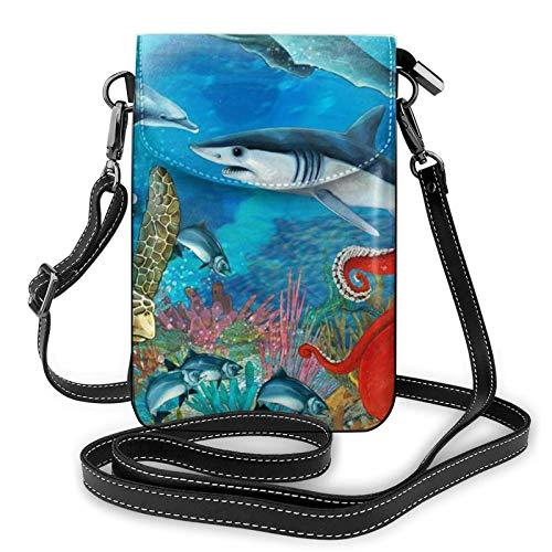 Bolso ligero de piel sintética para teléfono celular, delfines, tortuga, tiburón, pulpo, arrecife, coral, pequeño bolso de hombro, cartera para mujer