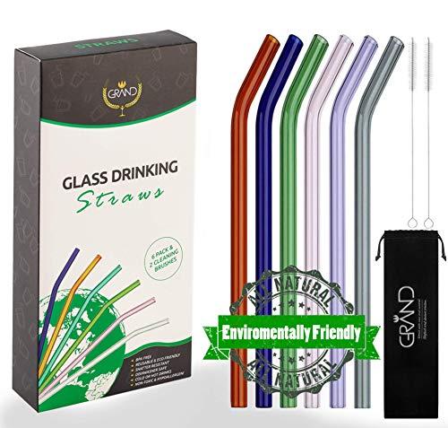 Wiederverwendbare glasstrohhalme. 6er-Set ungiftiger und umweltfreundlicher strohhalme glas zur Verwendung für Kalt- und Heißgetränke.
