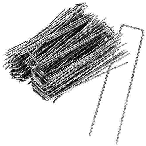 com-four Anclajes de Suelo 100x de Acero Revestido - piquetas de Suelo robustas para Sujetar vellón de Hierba y láminas - Anclajes de Suelo para jardín y Camping (100 Piezas - 150x30x3mm)