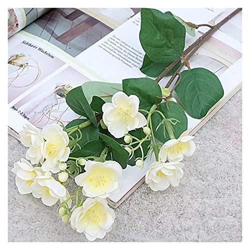 DXM Single 3-Pinzierte kleine Jasmin, künstliche Blume, EIN Satz von 10 dekorativen Blumen für das Haus, Hotel, Einkaufszentrum, Hochzeitsfotografie Requisiten, dekorative Blumen (weiß)