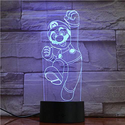 Optische Täuschung 3D Super Marysuitable für Kinder, Familie, Freunde, Geburtstag, Valentinstag, Weihnachtsgeschenke (Touch-Typ) mit Wecker_Mario hebt ab