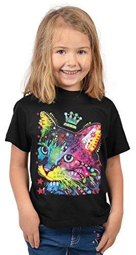 Katzen-Motiv Kindershirt - Kunstdruck Katze mit Krone- buntes Katzenshirt für Kinder : Thinking Cat Crowned - Tiermotiv Katze Kinder T-Shirt Gr: M = 134-140