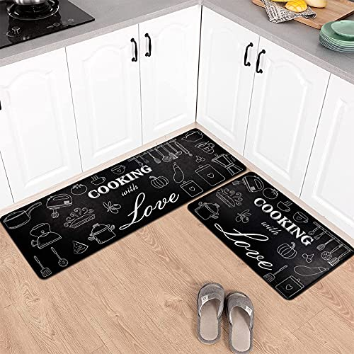 Pauwer Anti Fatigue Kitchen Floor Mat Set of 2 Non Slip Waterproof Comfort Standing Desk Mat Thick Cushioned Anti Fatigue Kitchen Runner Rugs and Mats