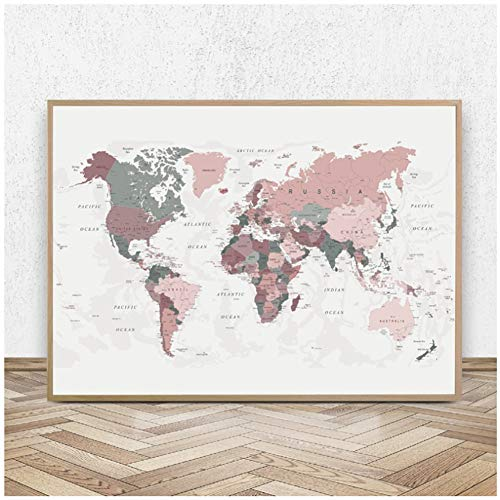 World Map Canvas Print Blush Pink Map of the World Poster Dorm Decor Modern Wall Art Picture Painting Decoration -60x80cm Sin marco