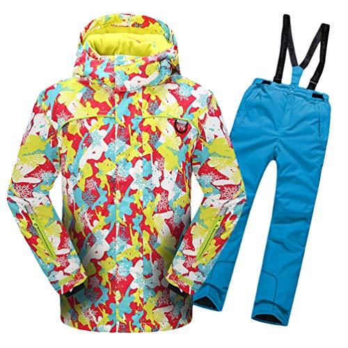 Lvguang Jungen & Mädchen Berg Wasserdicht Warm Skibekleidung Winddicht Regen Schnee Kapuzenjacke & Skihose (Himmelblau#6, Asia M)