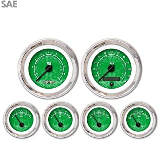 Aurora Instruments 4482 Tribal Green SAE 6 Gauge Set with Emblem Black Modern Needles Chrome Trim Rings Style Kit DIY Install