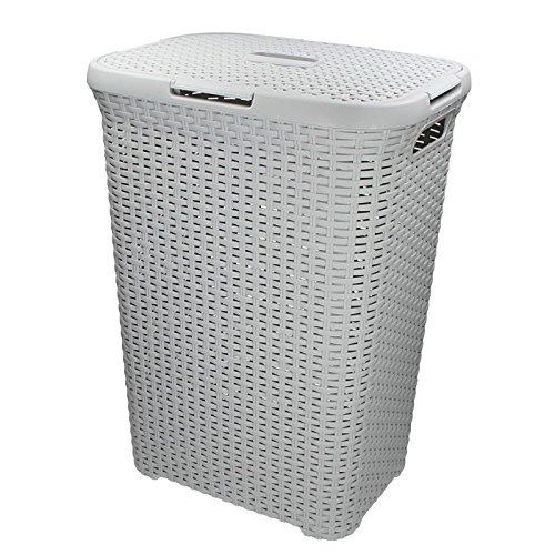 CURVER wasmand 60L 45x34x62cm wasmand wasmand wasmand mand mand rotanstijl vierkant lichtgrijs