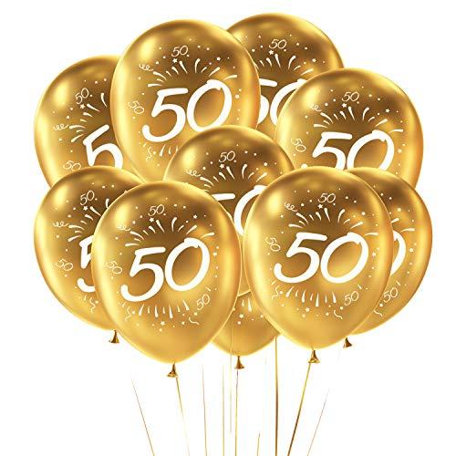 Oblique Unique® Luftballon Set Zahl 50 für Geburtstag Goldene Hochzeit Feier Jubiläum Party 10 Deko Ballons Gold Weiß