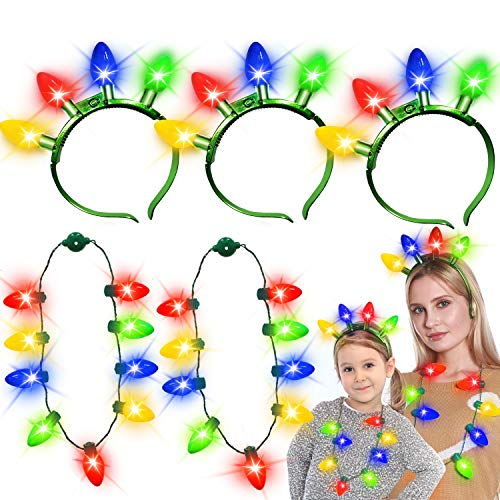 6 Pack Christmas Light up Necklace Headband with Colorful LED Glow Bulb 6 Flashing Modes for Kids Adults New Year Eve Party Supplies Favor Christmas Accessories Gift(3 Necklace + 3 Headband)