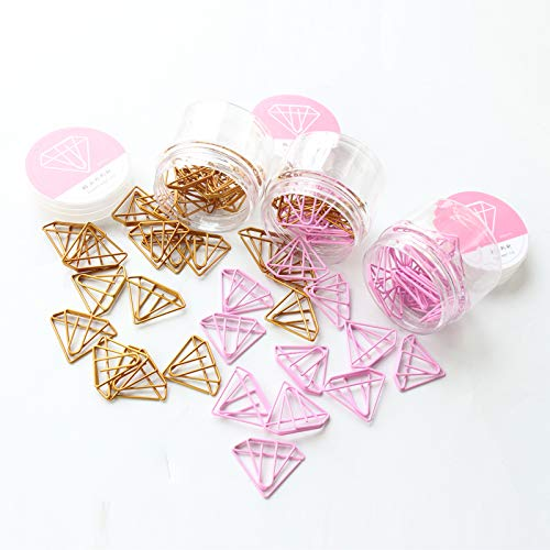 Netter Kawaii Gold-Diamant-Form-Büro-Schule Index Papierklammer Lesezeichen Set Metall Memo Organizer Ordner Briefpapier Rosa Schule Bürobedarf