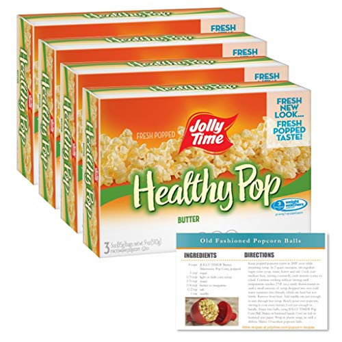 Jolly Time Freshly Popped Popcorn with 1 Free Recipe Card (Healthy Pop Butter - Pack of 4)