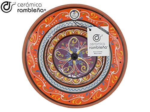 CERÁMICA RAMBLEÑA | Plato Decorativo para Colgar en Pared | Plato de cerámica | Plato decoración Mediterránea Naranja-Blanco-Violeta | 100% Hecho a Mano | 28x28x4,5 cm