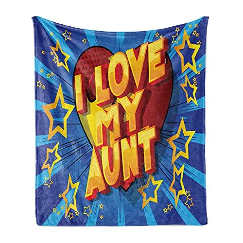 Ambesonne I Love My Aunt Soft Flannel Fleece Throw Blanket,...