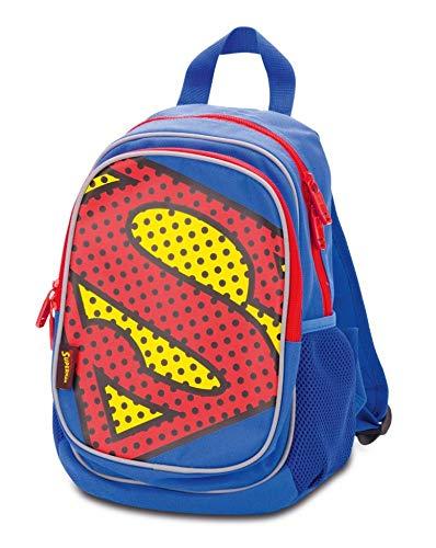 Baagl Kindergartenrucksack für Jungs und Mädchen – Kleiner Rucksack für Kinder mit Reflektirenden Elementen - Mini Kinderrucksack – Babyrucksack (Superman - Pop)