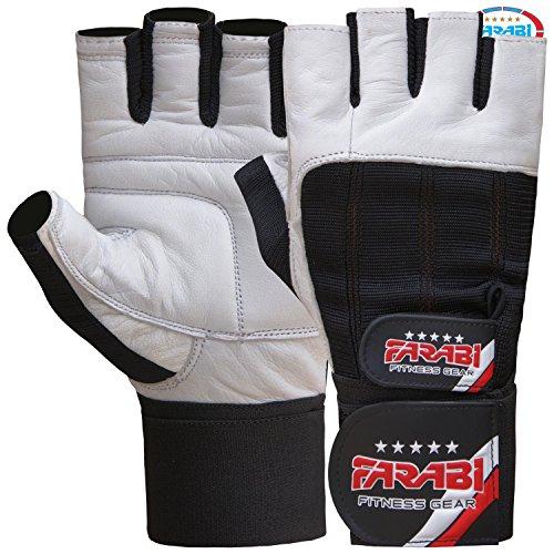 guanti palestra pelle FARABI Guanti per Sollevamento Pesi Palestra Supporto per Il Polso in Pelle per Allenamento Fitness Pair (M)