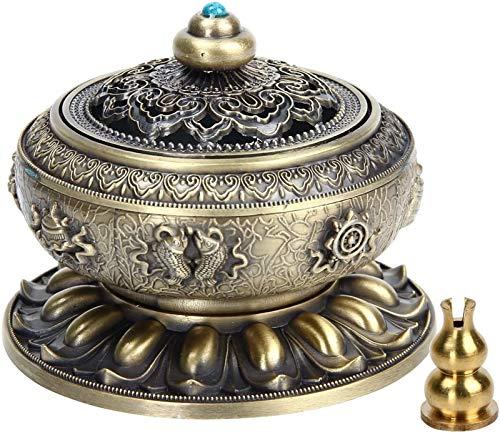 Backflow Incense Burner, Incense Censer Burner Holder Tibet Lotus Copper Alloy For Stick Cone Coil Incenses