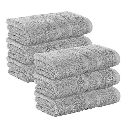 6 Stück Premium Frottee Handtücher 50x100 cm in Mittelgrau von StickandShine in 500g/m² aus 100% Baumwolle