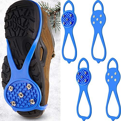 2 Pairs NonSlip Gripper Spikes Claw Universal Ice No Slip Snow Shoe Spikes AntiSkid Snow Ice Shoe Spikes with 5Tooth Steel Nails for Hiking Mountaineering Skiing Walking Shoes and Boots Blue
