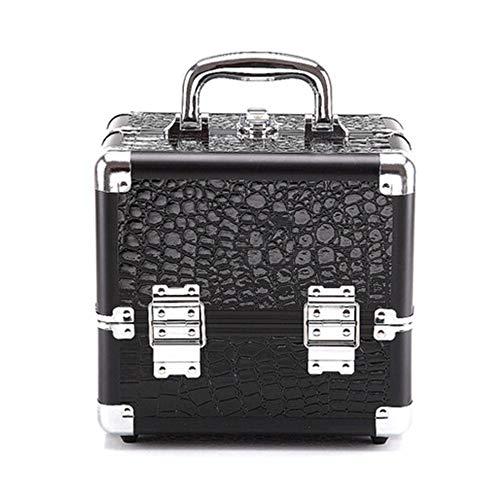 PN-Braes Cas cosmétique Boîte De Beauté De Modèle De Crocodile Make Up Nail Jewelry Cosmetic Vanity Case Boîte De Rangement Cosmétique Stockage de Maquillage (Color : Black+Red(S))