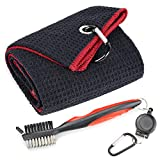 Mile High Life Microfiber Waffle Pattern Tri-fold Golf Towel | Brush Tool Kit with Club Groove Cleaner, Retractable Extension Cord and Clip (Black w/red Towel+Red Brush)