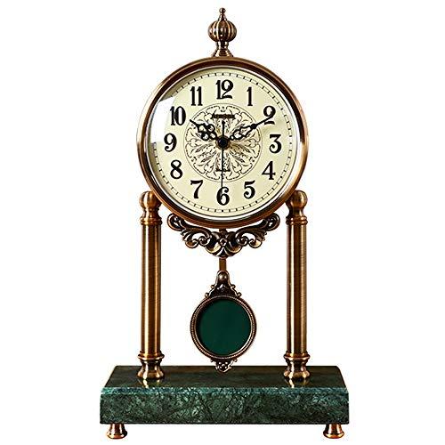 Reloj De Péndulo, Relojes De Mesa Silenciosos, Reloj De Escritorio De Metal, For Sala De Estar, Chimenea, Oficina, Cocina, Repisa, Estante Decorativo Relojes de escritorio ( Color : Metallic-Green )