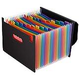 Magicfly Carpeta de Documentos A4, Carpeta A4 de 24 Compartimentos, Carpeta Clasificadora de Documentos, Carpeta de Acordeón con Etiquetas Multicolores para Clasificación